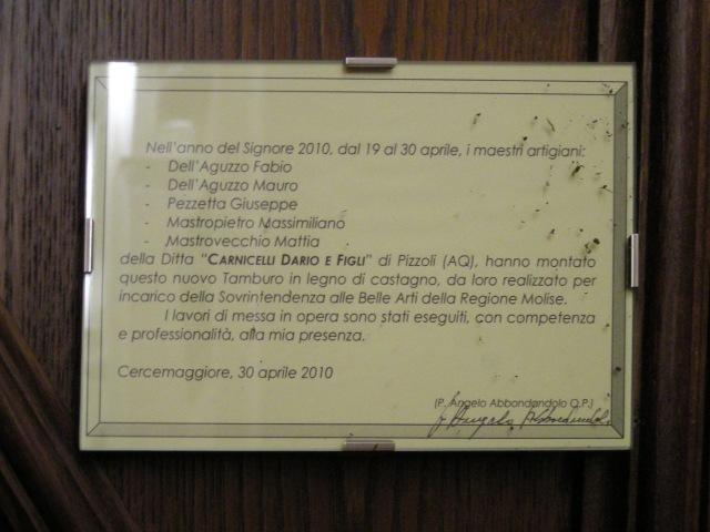 CERCEMAGGIORE nuovo bussolo mibac Soprintendenza Convento S.Maria della Libera Molise beffa mali culturali