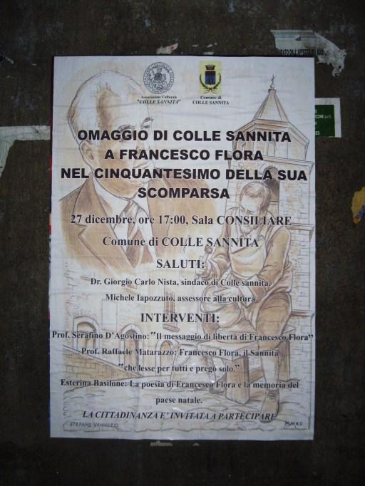 FRANCESCO FLORA manifesto convegno Colle Sannita Sannio letteratura grafica disegno