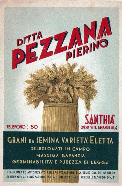 SANTHIA' Manifesto cartolina collezionismo ditta Pezzana Vercelli reclame grano granaglie