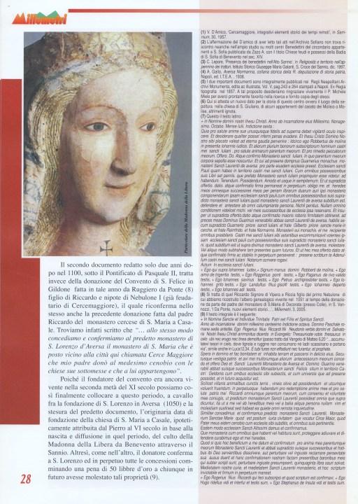 """S. Vannozzi , Sancte Marie in Cerche, la riscoperta dei due più antichi documenti di Cercemaggiore, in """"Millemetri"""", la rivista di Cercemaggiore,n.1, Anno VIII (vecchia serie), Gennaio-Febbraio 2006. Parte IV."""