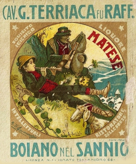 BOJANO liquore matese Terriaca Molise  De Lisio  illustrazione disegno D'Annunzio