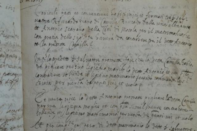 MORRA DE SANCTIS capitolo matrimoniale Scarano patti matrimoniali Camilla Ricciardo archivistica Motola