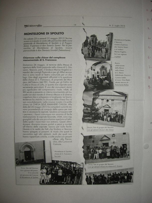 MONTELEONE DI SPOLETO Monteleone S. Francesco restauro FEC  Trivio Ruscio